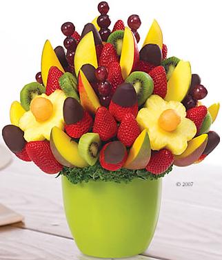 jarrón de frutas con chocolate