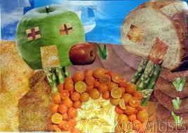 Casas de manzana, pan, caminos de espárragos, fuente de naranjas