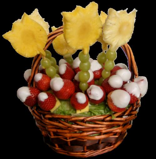 Cesta decorada con frutas