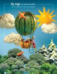 paisaje con un globo de sandía flotando entre árboles de brécol
