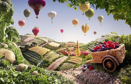 Paisaje de campos cultivados y globos de verduras, frutas y hortalizas