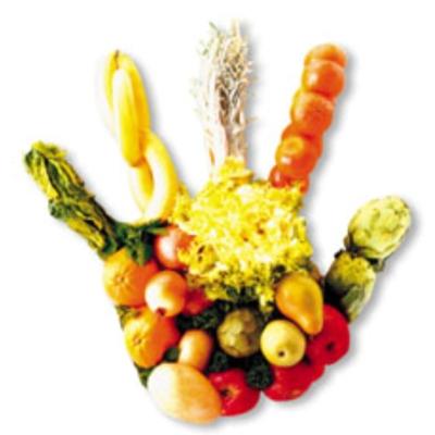 verduras con forma de mano