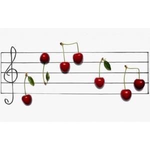Pentagrama notas musicales de cerezas