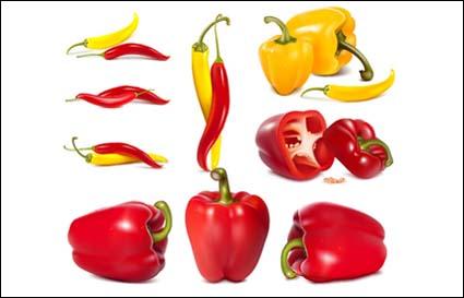 vector pimientos rojos y amarillos