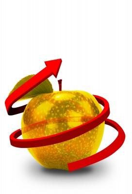 Proyección de manzana dorada