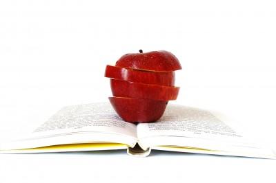 fotografía de manzana sobre un libro