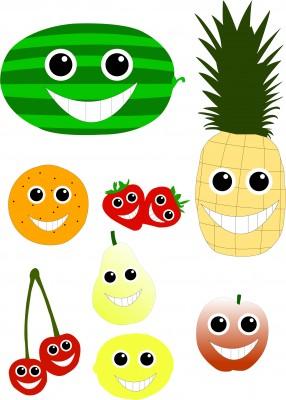 Vector de frutas sonrientes