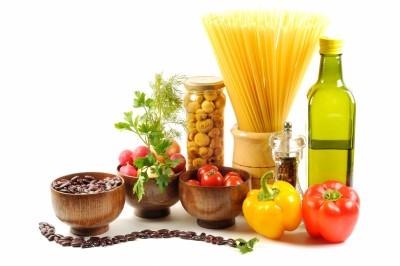 Ingredientes para spaguetti con verduras y frijoles