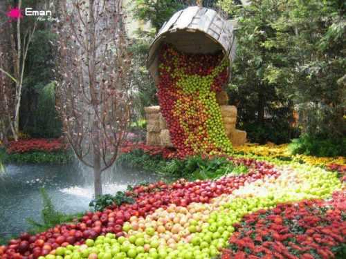 paisaje con frutas