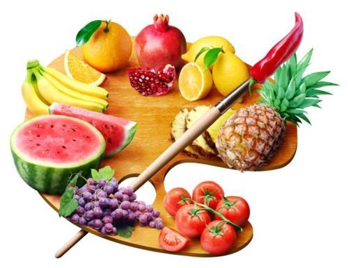 frutas sobre paleta de pintura
