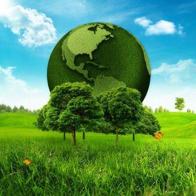 planeta y árboles