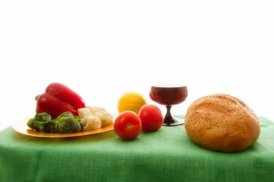 vegetales y pan
