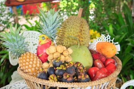 cesta con frutas exóticas