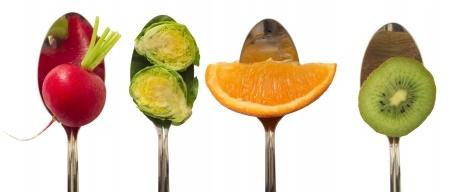 bocados de frutas y hortalizas