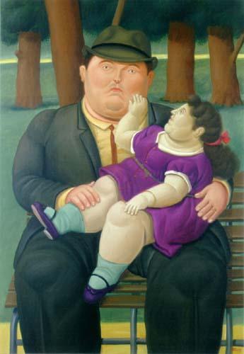hombre y niña obesos