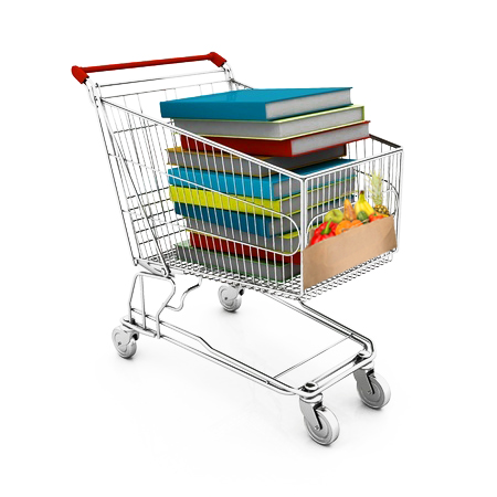 carro de compra con libros